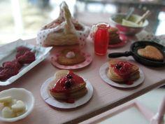Dollhouse miniature making Valentine pancakes by Kimsminibakery