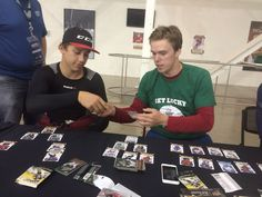 Connor McDavid in Toronto for the NHL Rookie Showcase, and naturally some intense hockey card trading goes down between him and Dylan Strome.  Aug 30 2015