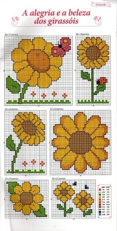 from Croche 06 ou Bordado - Mini Flores Cross Stitch Bookmarks, Cross Stitch Heart, Beaded Cross Stitch, Simple Cross Stitch, Cross Stitch Borders, Cross Stitch Flowers, Cross Stitch Designs, Cross Stitching, Cross Stitch Embroidery