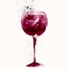 Amazing watercolor illustration of wine glass. by MoleskoStudio