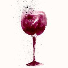 Amazing watercolor illustration of wine glass. by MoleskoStudio