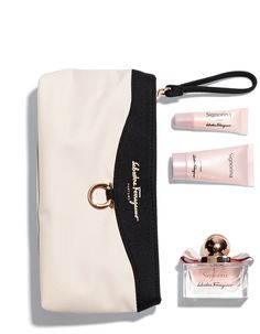 Ferragamo tops off the Singapore Airlines premier experience with its white and black branded clutch for women, complete with a miniature set of Signorina products: the standout is a one-ounce glass bottle of eau de toilette, trimmed with a pink ribbon and scented with floral jasmine and sweet panna cotta notes.