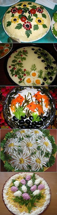 Registration of dishes – decoration of salads Food Design, Cute Food, Good Food, Food Carving, Vegetable Carving, Edible Arrangements, Food Decoration, Recipe For Mom, Appetisers