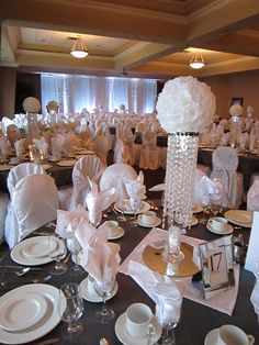Bling Wedding Table Decorations | White Sparkle Wedding – Bling Centerpieces with White Rose Flower ...