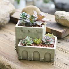 NCYP Greek Stone House Nautical Concrete Cement Mansion Garden Planter 2 Layer L. NCYP Greek Stone House Nautical Concrete Cement Mansion Garden Planter 2 Layer Living Roof Fairy Home Flower Pot Pottery Houses, Ceramic Houses, Succulents In Containers, Planting Succulents, Succulent Plants, Resin Planters, Garden Planters, Concrete Crafts, Concrete Cement
