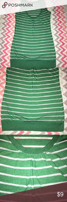 Xhilaration Striped Tank Top - S Thank you for taking the time to browse my shop, feel free to bundle & Negotiate through the Private Offer Section.  Size: small   Brand: xhilaration   Details: burnout style slightly loose with a more fitted banded bottom. Stripe and Razorback like design.   Color: green/white  Condition: good used   *Used items may contain piling &/or signs of wash and wear, they are sold AS Described.  Have a Wonderful Day. Thank you again for Browsing my Shop.  #Shop…