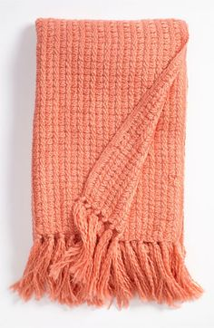 Nordstrom at Home Grid Knit coral Throw available at #Nordstrom