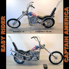 Chopper Captain America de Easy Rider Easy Rider, Choppers, Moto Chopper, Captain America, Harley Davidson, Route 66, Boutique, Chopper, Boutiques