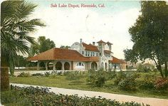 California CA Riverside Salt Lake Depot 1910 Train Station Postcard Railway