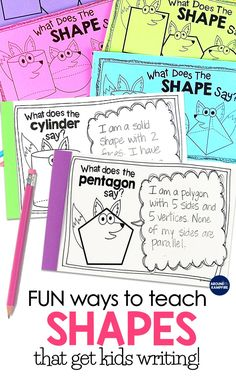 Fun & shapes attributes booklets based on the song, What Does the Fox (Shape) Say? Part of a geometry unit with included versions for Kindergarten, and grade, these activities are a great way to get students writing about math! Preschool Math, Math Classroom, Fun Math, In Kindergarten, Math Activities, Geometry 2nd Grade Activities, Preschool Shapes, Classroom Resources, Future Classroom