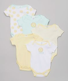 Look at this Little Beginnings Yellow & Mint 'Smile' Sun Five-Piece Bodysuit Set - Infant on #zulily today!