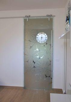 Porta Vetro Scorrevole Esterno Muro Modello Logika Alluminio Vetro  Trasparente Decoro Chantal (3)  Ideas