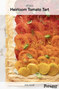 Tart Recipes, Vegetable Recipes, Vegetarian Recipes, Cooking Recipes, Healthy Recipes, Heirloom Tomato Tart, Heirloom Tomatoes, Phyllo Dough, Tzatziki Sauce