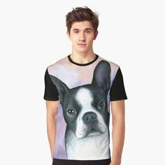 My T Shirt, Cotton Tote Bags, Boston Terrier, My Arts, Printed, Awesome, Dogs, Clothing, Shirts
