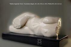"""Martin Künne, """"weißer liegender Torso"""", Kunststein, Akt. sculpture"""