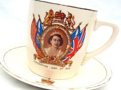 "LesleysGirlsVintage - 1950s Coronation China- Collectible Cup and Saucer from 1953 // ""Queen Elizabeth II China"" from Lesley's Girls Vintage. £12.95, via Etsy."