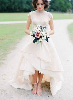 high low hem lace wedding dress perfection