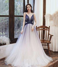 STYLISH V NECK TULLE LONG A LINE PROM DRESS BLUE EVENING DRESS cg21204