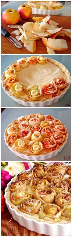 Apeltaart met de appel als een roos     125g soft butter'70 Powdered sugar1 egg1 vanilla1 tsp grated orange peel100 g of finely ground almonds150g flourfor the cream400 ml milk100ml white wine3 egg yolks1 vanilla1 tsp grated orange peel6 tablespoons sugar4 tablespoons flour peak5-6 apples - Slightly glazed roses with warmed apricot jam. Bake cake in a preheated 180 * oven until the dough is baked , and the apples are golden . -