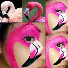 Simple face painting designs are not hard. Many people think that in order to have a great face painting creation, they have to use complex designs, rather then Face Painting Designs, Paint Designs, Body Painting, Animal Face Paintings, Animal Faces, Flamingo Face Paint, Flamingo Costume, Flamingo Party, Face Paint Makeup