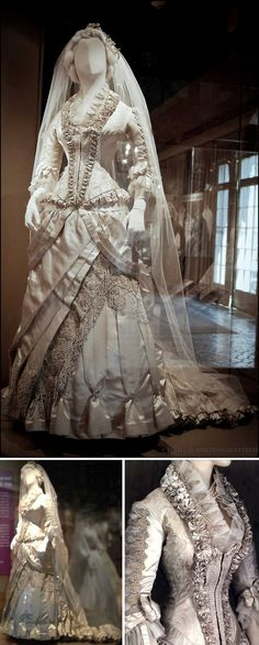 """Wedding gown, Worth, 1879. Ivory silk satin and silk damask with floss, chenille, & pearl embroidery. Shown at the Western Reserve Historical Society's exhibit """"Tying the Knot: Cleveland Wedding Fashions, 1830–1980."""" Click through for bigger pic."""