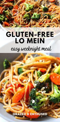 Gluten Free Recipes For Dinner, Gluten Free Cooking, Dairy Free Recipes, Gluten Free Lunches, Easy Gluten Free Meals, Gluten Free Lo Mein Recipe, Healthy Lo Mein Recipe, Easy Lo Mein Recipe, Dinner Recipes