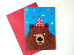 Party Animal Bear Birthday Card funny bear by helloDODOshop via Etsy