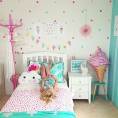 Never tire of seeing pics from the lovely and her gorgeous kids hanging out in their stunning rooms! Ocea's room features our Polka Dots in Gold, Mint, Light Pink and Soft (candy) Pink room ideas Trendy Bedroom, Girls Bedroom, Master Bedroom, Pink Bedrooms, 60s Bedroom, Magical Bedroom, Pink Bedroom Accessories, Bedroom Colors, Bedroom Decor
