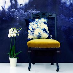 Floral Cyanotype Cushion - homeware, colour, pattern, botanical, nature, moody interiors - Terrariumdesigns.co.uk
