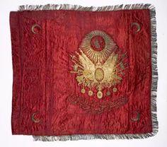 351-044A Osmanlı Dönemi Alay Sancağı Ön Yüzü Osmanlı Devlet Arması ve Alayın İsmi Yazmaktadır..jpg