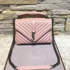 e7955c9e02 Y 392737 Classic Medium Monogram College Bag In Natural Lambskin Pink 2016.  Brucemyers · Saint Laurent ...