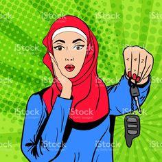 Vector pop art muslim woman with keys stockowa ilustracja wektorowa royalty-free