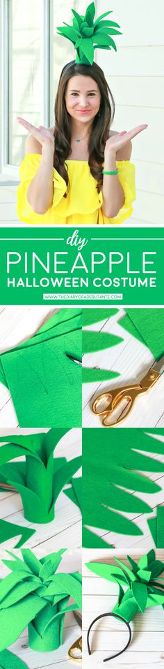 Super simple $3 pineapple Halloween costume... looks so cute in person! Just make the DIY pineapple topper, throw on a yellow dress, and accessorize with green jewelry | Easy DIY Halloween costume | DIY Pineapple Topper | DIY Pineapple Costume by fashion blogger Stephanie Ziajka from Diary of a Debutante