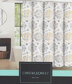 Cynthia Rowley Clover Medallion Fabric Shower Curtain Yellow Tan Grey On White