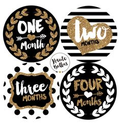 Black & Gold LUXURY Monthly Baby Milestone Stickers By Haute Bellies - Baby Girl - Monthly Baby Stickers - Baby Month Sticker Baby Monthly Milestones, Monthly Baby, Baby Pictures, Baby Photos, Oysho Lingerie, Baby Month Stickers, Gold Nursery, Baby Month By Month, Baby Cards