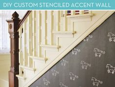 Make It: DIY Custom Stenciled Accent Wall -- horses