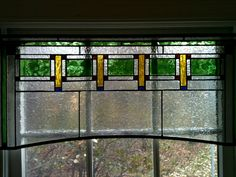 Frank Lloyd Wright inspired stained glass valance. Chicago Craftsman.