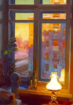"Evgeny and Lydia Baranovs from the ""Moscow Windows"" series, ""Studio Window at Sunset"""