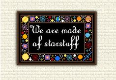 Cross Stitch Pattern pdf - We are made of starstuff - Carl Sagan - Inspiring quote - Space - Galaxy - Universe - Astronomy - Geeky