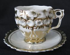 Textured Porcelain China With Gold Demitasse Childs Cup and Saucer