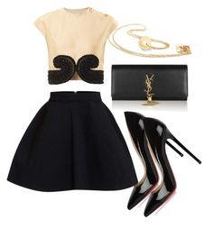 """""""Fashion set with gold necklace."""" by lorentzandco ❤ liked on Polyvore featuring Christian Louboutin, Carven and Yves Saint Laurent"""