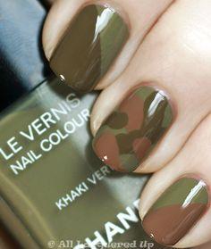 chanel khaki brun, khaki rose and khaki vert camouflage manicure from the khakis de chanel collection