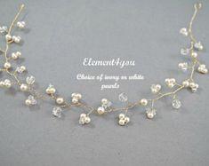 Cabello viñas perlas cristales nupcial de la boda con cable vides diadema tocado postizo pelo novia vid guirnalda nupcial diadema con crema claro