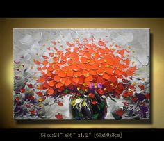 ORIGINAL Abstract Impasto Acrylic Painting Modern Palette Knife Flowers Contemporary Fine Art Home Decorby Chen c0120
