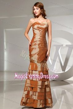 Brown Spaghetti Straps Mermaid Beading Evening Dress with Layers