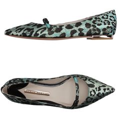 Sophia Webster Ballet Flats ($420) ❤ liked on Polyvore featuring shoes, flats, green, leather sole shoes, ballet flats, green flats, skimmer flats and buckle ballet flats