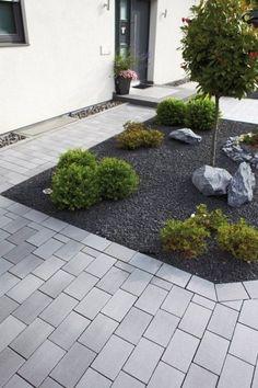 Modern Front Yard, Front Yard Design, Garden Types, Front Yard Landscaping, Indoor Garden, Landscape Design, Paving Stones, Corner Sofa, Garden Beds
