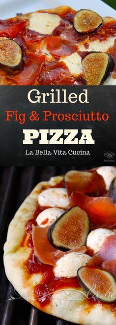 The ULTIMATE Grilled Pizza with Figs & Prosciutto! | La Bella Vita Cucina #pizza #italian #figs #prosciutto #grill #grilled #grilling #entertaining #recipe #naanbread #alfresco prosciuttopizza #grilledpizza #figpizza #pizzarecipe Best Italian Recipes, Unique Recipes, Favorite Recipes, Prosciutto Pizza, Grilled Pizza, Thin Crust Pizza, Pizza Dough, Party Desserts, Dessert Recipes