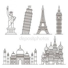 Wahrzeichen-Symbole. Statue der Freiheit, Turm von Pisa, Eiffelturm, big Ben, Taj Mahal, Basilius Kathedrale. Vektor-illustration