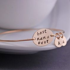Personalized Nana Bracelet, Nana Jewelry Gift, Personalized Jewelry, Nana Bangle Bracelet on Etsy, $40.00